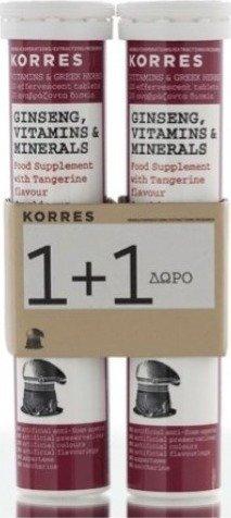 Korres Ginseng, Vitamins & Minerals 20 effervescent tablets 1 + 1 FREE