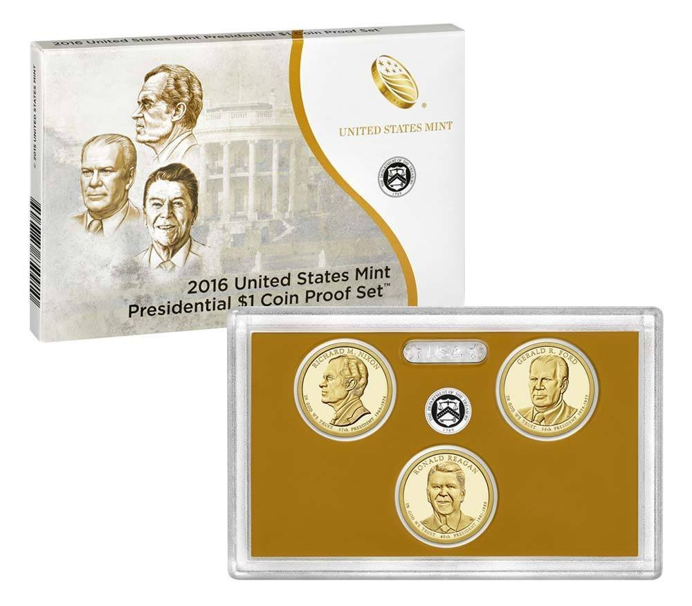 2016 S Presidential One Dollar Coin Proof Set In Original Mint Packaging & COA