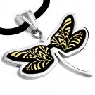 "18"" SILVER 316 STAINLESS STEEL COLOURFUL BUTTERFLY CORD NECKLACE"