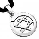 "18"" SILVER 316 STAINLESS STEEL STAR OF DAVID CORD NECKLACE"