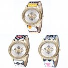 Mixed Weave Aztec Flower Crystal Bling Ladies Girls Fashion Wrist Watch