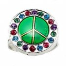 Ladies Adjustable Silver Crystal Peace Temperature Colour Changing Mood Ring
