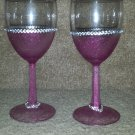 Pink Bling Wine Glass Set