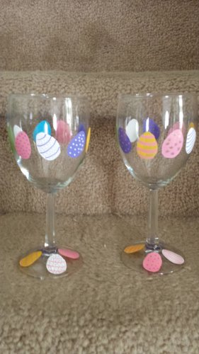 Pretty Easter Egg Wine Glass Set