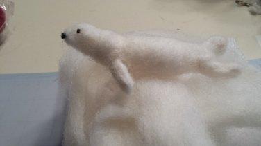Needle Felted White Seal