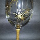 Beautiful Gold Burst Painted Wine Goblet