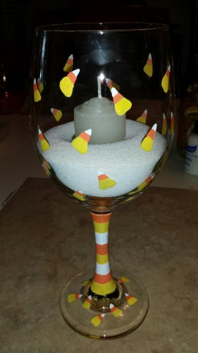 Candy Corn Goblet Candle