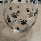 Cute Paw Print Painted Stemless Wine Glass