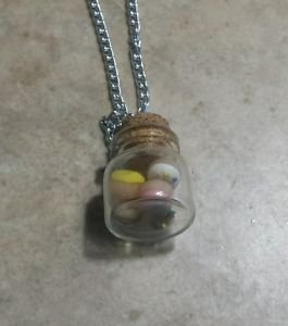 Cute Miniature Donut Jar Necklace Bottle Pendant Clay Charm Food Doughnut Silver