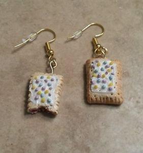 Cute Miniature Pop Tart Charm Earrings Food Clay Charms Kids Food Wires