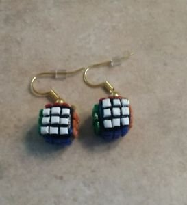Cute Rubik's Cube Charm Earrings Clay Charms Miniature Toy Jewelry Earrings Kids
