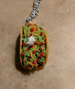 Yummy Taco Charm Necklace Food Clay Charms Taco Necklace Unique