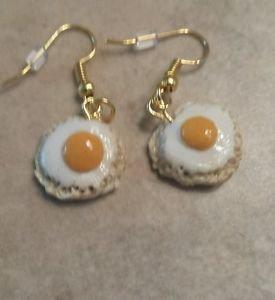 Miniature Egg Clay Wire Earrings Food Jewelry Kids Clay Charms Earrings