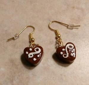 Cute Heart Chocolate Charm Earrings Wires Clay Charm Chocolate Holiday Candy