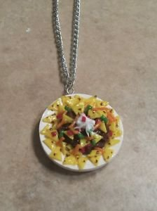 Delicious Nacho Plate Necklace Food Clay Charms Nachos Miniature Unique