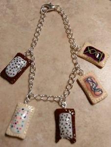 Fun Miniature Pop Tart Inspired Charm Bracelet Clay Food Charms Breakfast Silver