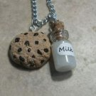 Delicious Cookies and Milk Charm Necklace Clay Charms Cookie Kids Charm Necklace