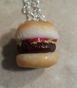 Delicious Hamburger Charm Necklace Clay Charms Kids Food Hamburger Charms