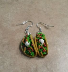 Miniature Taco Silver Wires Clay Charms Food Tacos Wires Unique
