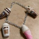 Cute Frappucino Inspired Silver Charm Bracelet Coffee Charm Bracelets Clay Drink