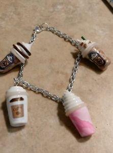 Cute Frappucino Inspired Silver Charm Bracelet Coffee Charm Bracelets Clay Drink