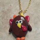 Cute Clay Turkey Pendant Necklace Clay Charms Fall Animal Kids