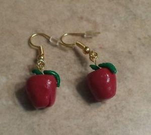 Apple Charm Wire Earrings  Kids Jewelry  Clay Charms  Teacher Gift Earrings