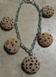 Cute Cookie Charm Bracelet Clay Charms Bracelet Kids Cookies Snack Silver