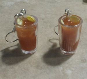 Iced Tea Wire Earrings Summer Jewelry Drink Earrings Miniature Silver Wires