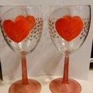 Cute Heart Wine Glass Set Valentine Holiday Hand Painted Wine Glassware Barware