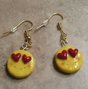 Cute Heart Eye Emoji Charm Earrings Emoticons Clay Charm Wires Unique Kids
