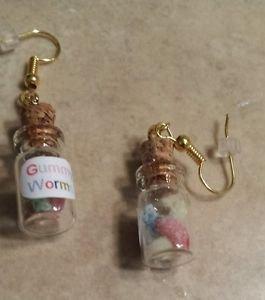 Cute Gummy Worm Bottle Earrings Food Kids Earrings Unique Bottle Pendant Jewelry