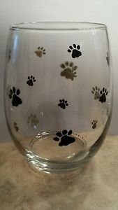 Paw Print Stemless Glass  Barware Painted Glassware  Glass Gifts Pet Lover Gift