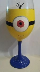Cute Minion Painted Goblet Barware Character Painted Glass Wine