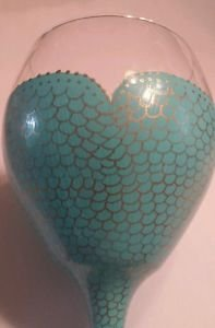 Beautiful Mermaid Painted Goblet Ocean Theme Wine Glass Barware Summer Painted