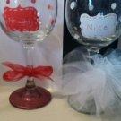 Cute Naughty/Nice Wine Glass Set Barware Christmas Wine Gifts Glassware Set