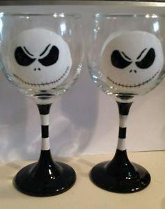 Jack Skellington Wine Glass Hand Painted Glassware Wine Glass Gift Character Set