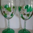 Lucky Shamrock Wine Glass Set Barware Wine Gifts Glass Painted Wine Glasses