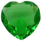 80 mm 3.15 inch solid crystal green  glass HEART paperweight,
