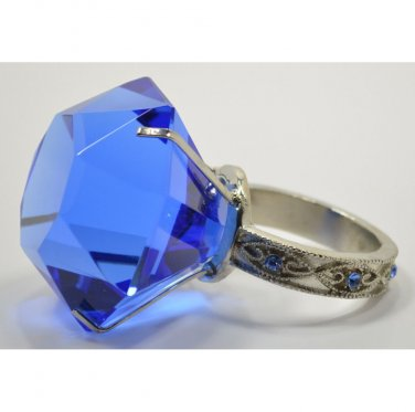 """BLUE DIAMOND GLASS NAPKIN HOLDER & PAPERWEIGHT W/BEJEWELED SILVER RING (2.5"""")"""