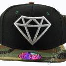 Diamond Black Hat Camo Brim White Embroidered Snapback Hat Adjustable Strap