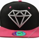 Diamond Black Hat Pink Brim White Embroidered Snapback Hat Adjustable Strap