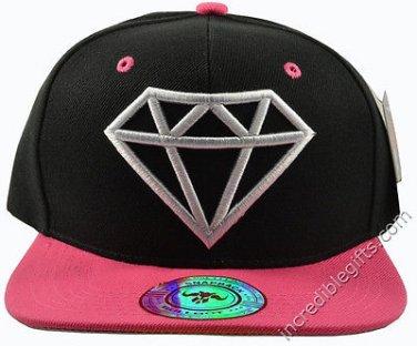 Diamond Black Hat Pink Brim White Embroidered Snapback Hat Adjustable Strap