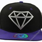 Diamond Black Hat Purple Brim White Embroidered Snapback Hat Adjustable Strap