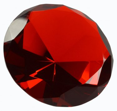"SOLID RED Crystal Glass Diamond Jewel Paperweight 3.15"" Diameter (80mm)"