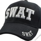 SWAT Black Hat White Embroidered Snapback with Adjustable Velcro Strap
