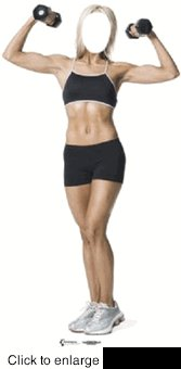 MUSCLE  WOMAN STAND-IN CARDBOARD CUTOUT LIFE SIZE STANDUP
