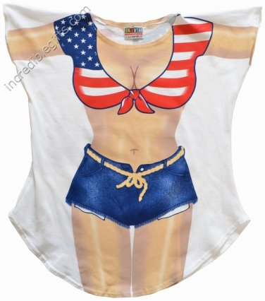 MISS AMERICA bikini Cover-Up  PLUS  SIZE T-Shirt Sexy Flirty Funny Silly Crazy Summer Fun