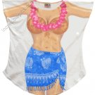 BLUE SARONG TROPICAL Cover-Up  PLUS   SIZE T-Shirt Sexy Flirty Funny Silly Crazy Summer Fun
