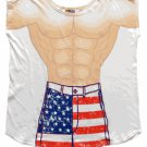 Mens Stars And Stripes Muscle Guy Coverup T-Shirt Coverup T-Shirt Sexy Flirty Silly Crazy Summer Fun
